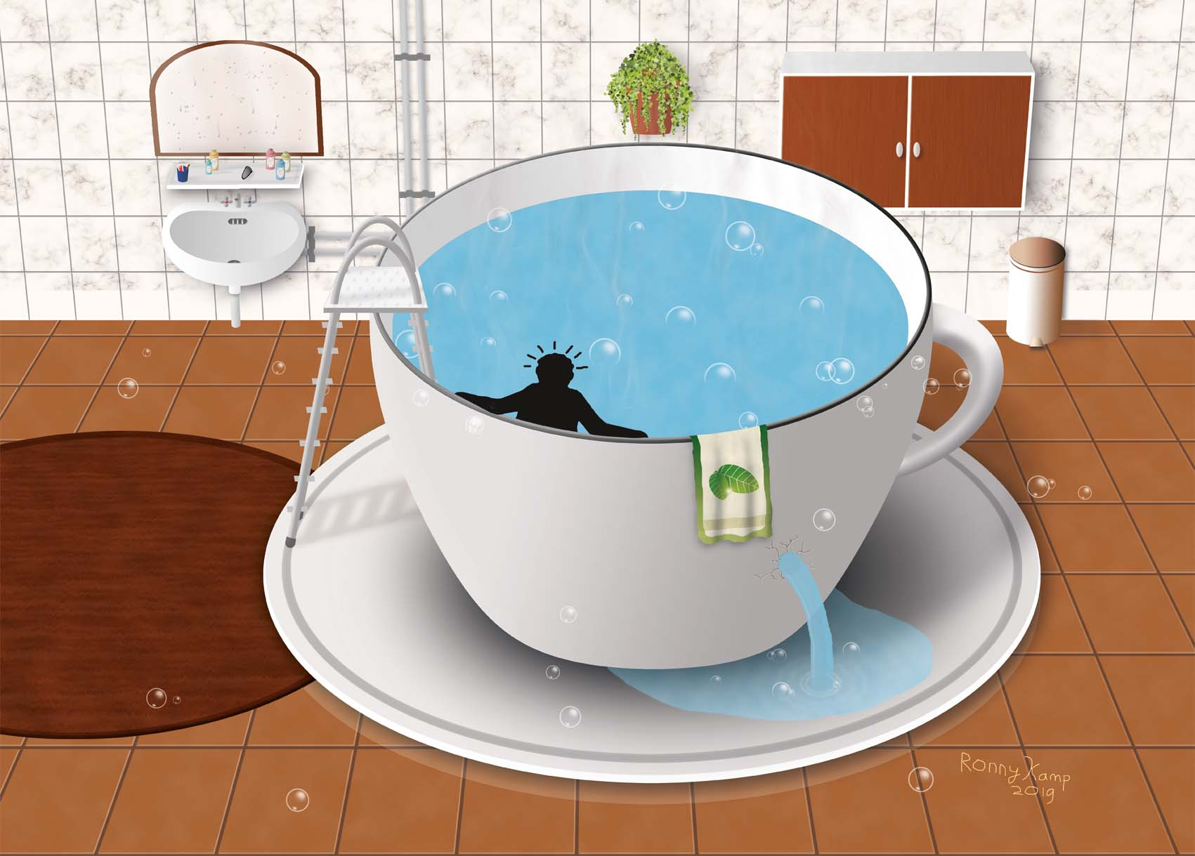 Bath in the shap of a cup of tea.