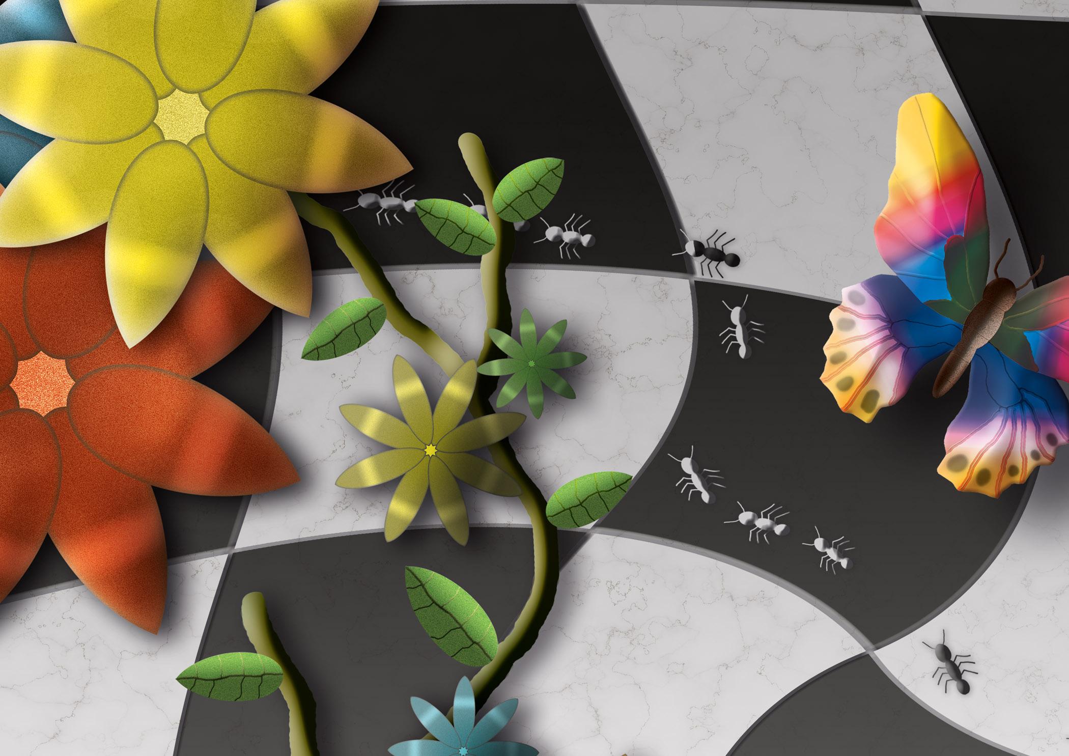Uitgesproken kleur op zwart-wit tegels