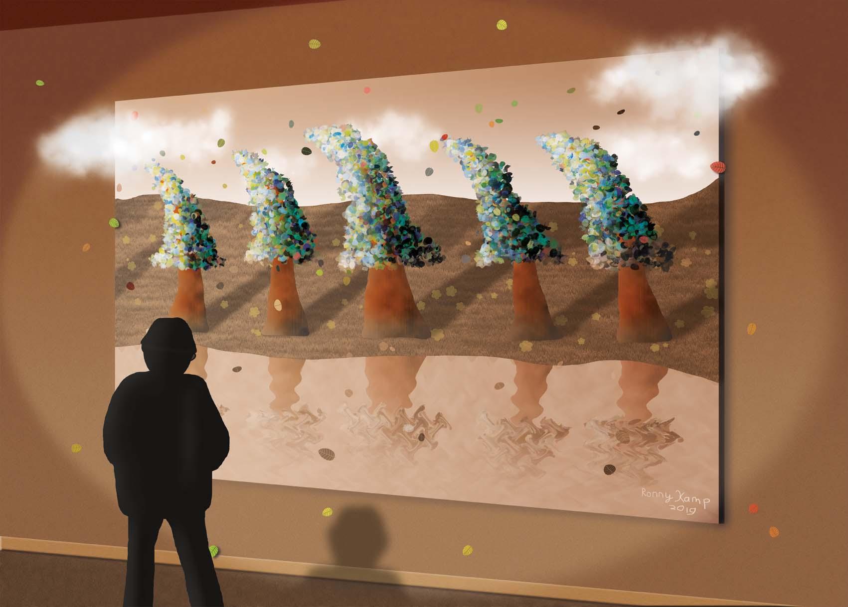Een man kijkt naar een kunstwerk van bomen in de wind. Bladeren en wolken treden uit het kunstwerk de werkelijkheid in. Is onze realiteit ook een kunstwerk?