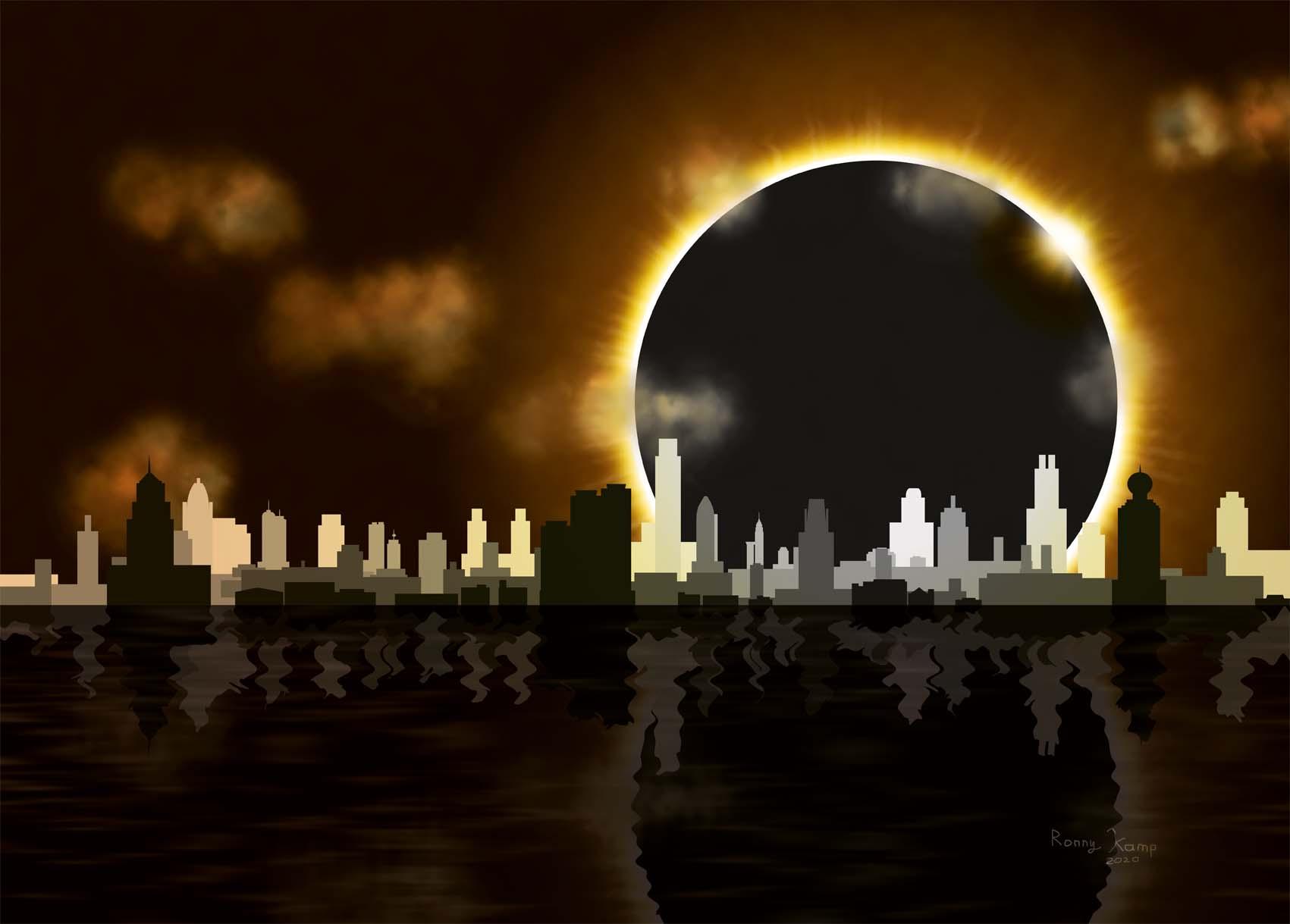 We zien alleen nog de corona van de zon boven de skyline van Wuhan.