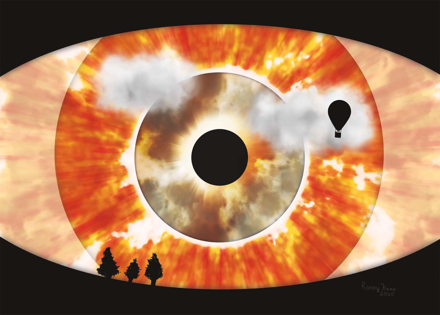 Vlammend oog of ontploffende zon. Op de voorgrond silhouetten van bomen en een heteluchtballon. Een griezelige aanblik van een gebeurtenis die met zekerheid een grote verandering teweeg brengt.