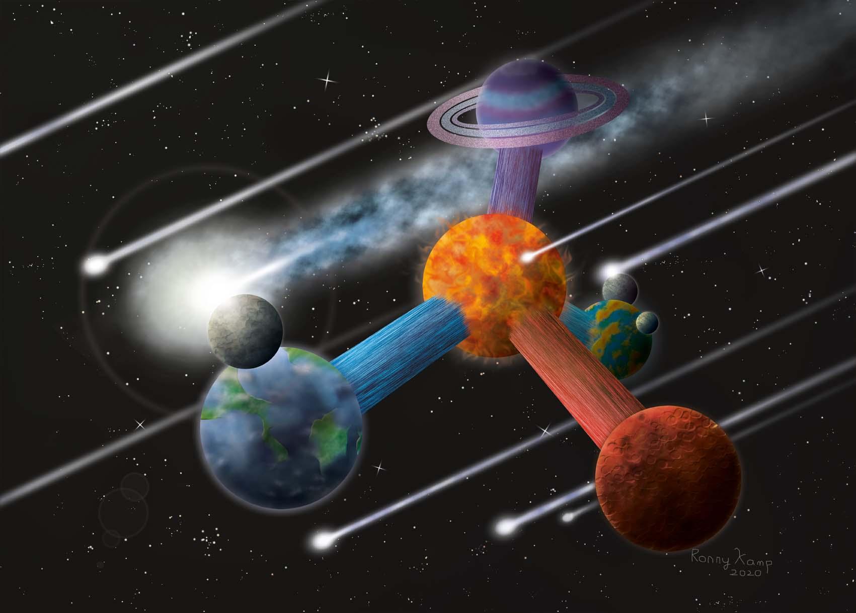 Uitbeelding van de universele waarheid <br>dat het altijd zowel groter als kleiner kan. Oneindigheid strekt zich niet alleen uit naar buiten<br>maar ook naar binnen.