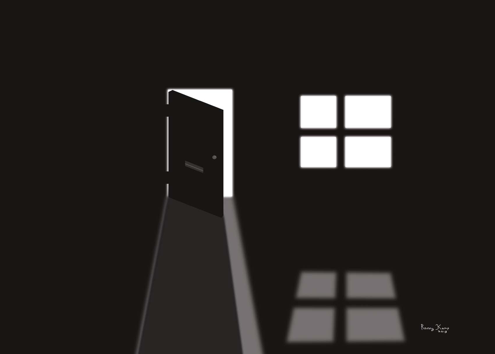 lege kamer in zwart-wit