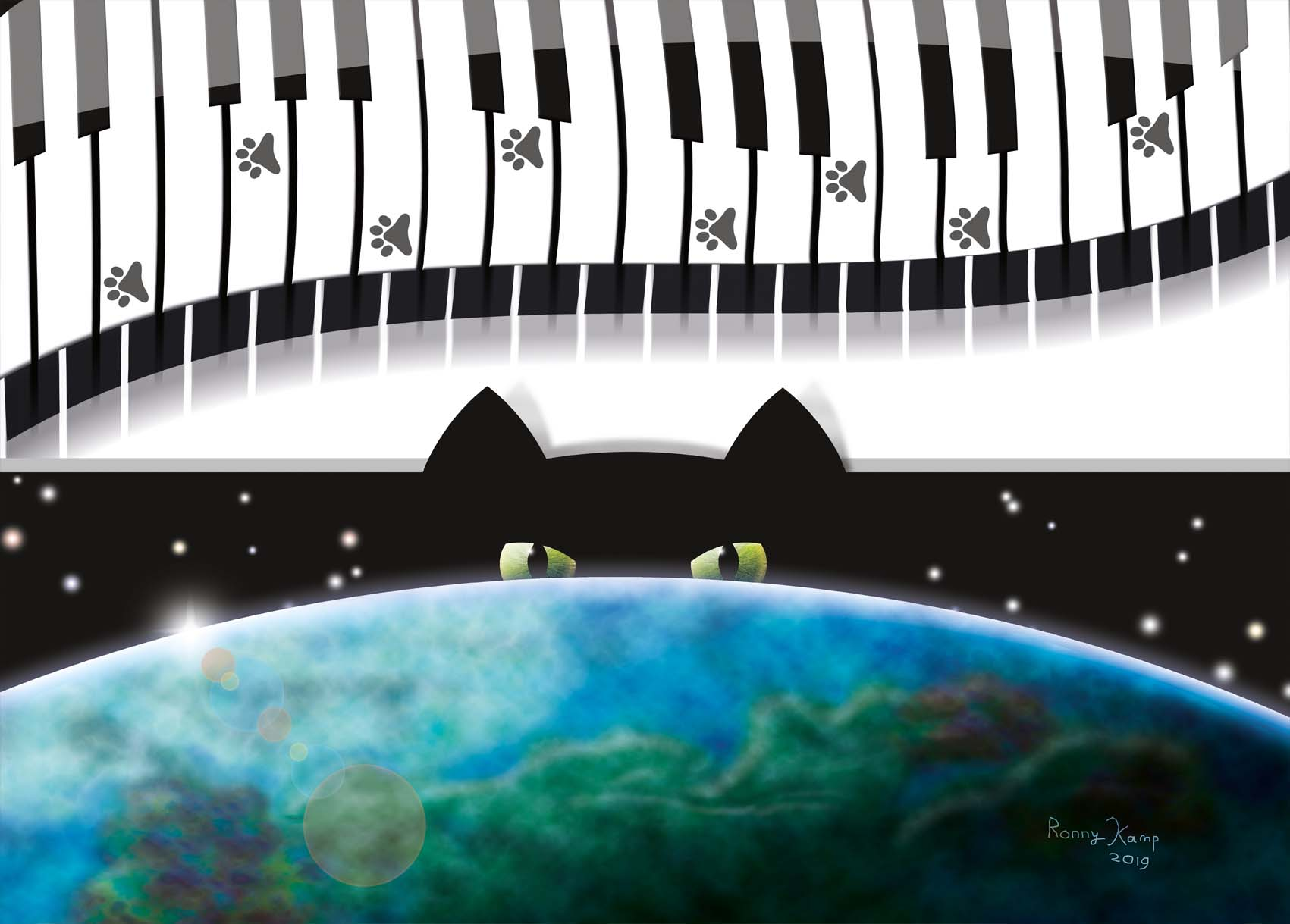 Kat kijkt uit over de wereld na het lopen over een piano. Speelsheid en arrogantie in beeld gebracht.