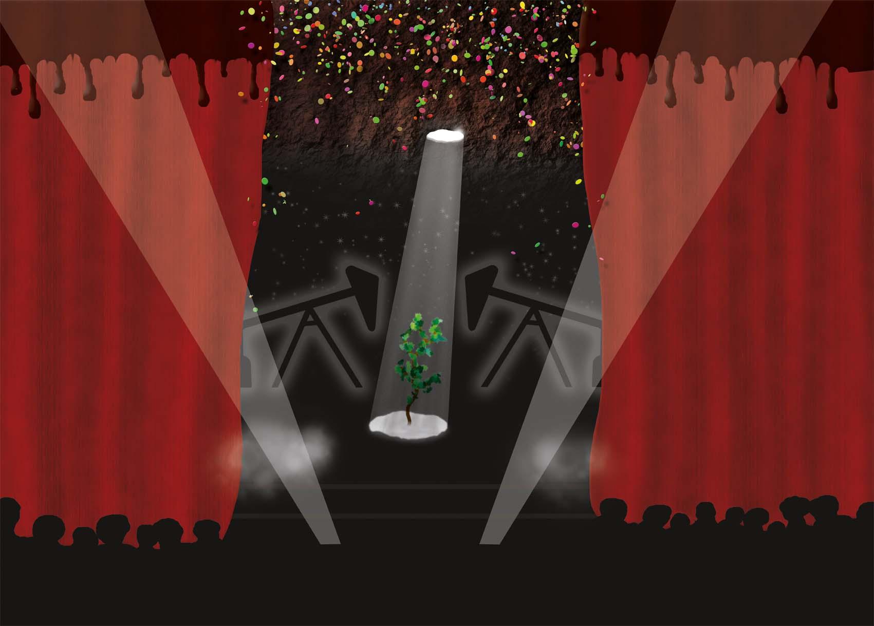 Plant in schijnwerper op podium met jaknikkers op de achtergrond. Olie druipt van de gordijnen. Een viering met een show, een blik in de toekomst van een tijd waarin<br>fossiele brandstof vereerd wordt.