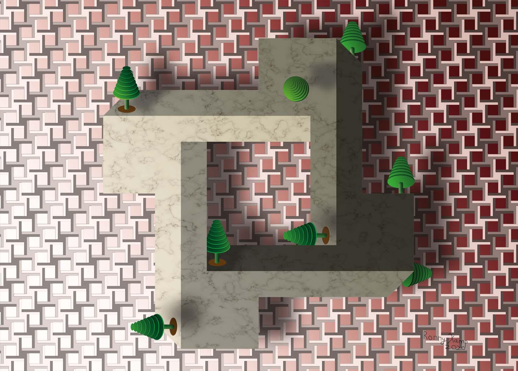 Open vierkant met blokken in de hoeken. Speelgoed bomen versieren dit onmogelijk figuur. Esscher zou er trots op zijn.