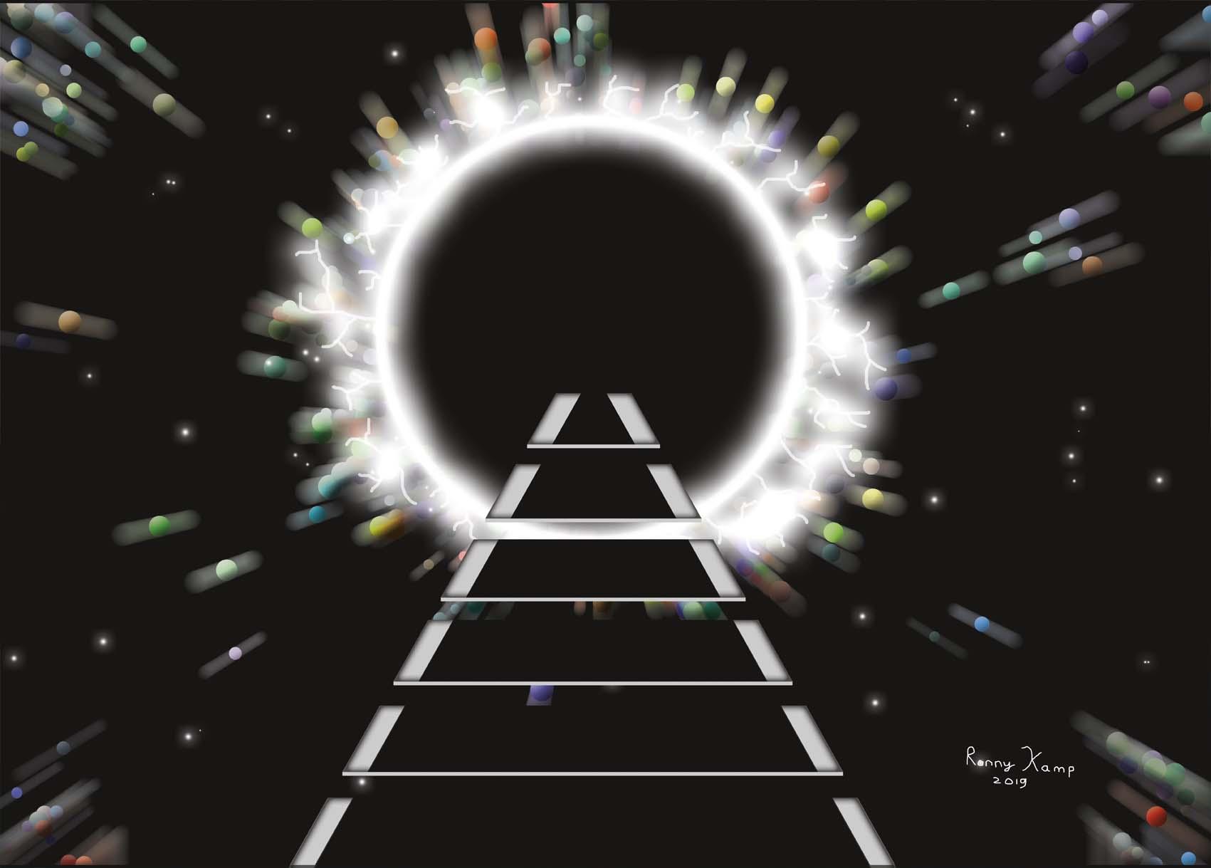 Stapstenen in de ruimte richting een portaal of zwart gat. Waar leidt dit naartoe of komt er juist iets uit deze mysterieuze zwarte cirkel in de ruimte.