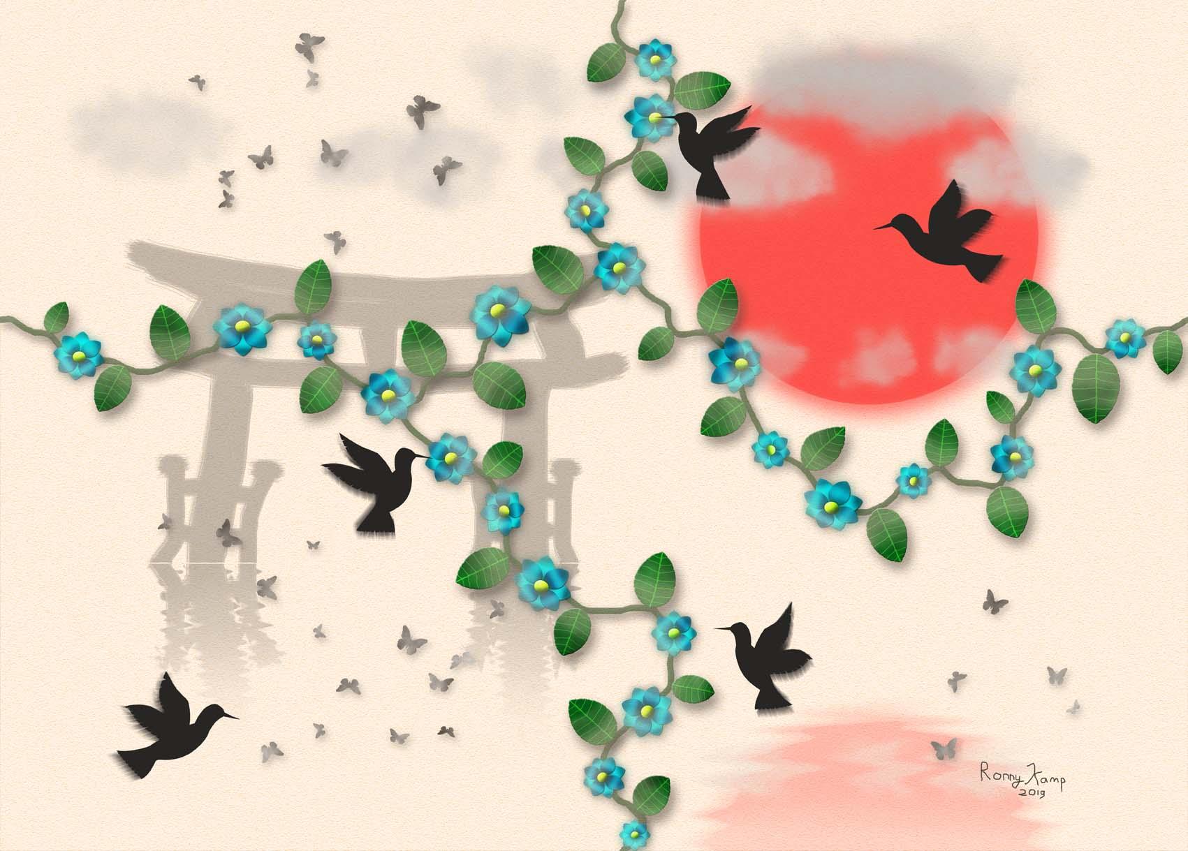 Bloemen en vogels op een achtergrond met Japanse invloeden. Een Shinto weerspiegelt in het water evenals de rode zon. Alle onderdelen zijn gericht op het ervaren van de soms mysterieuze Japanse cultuur.