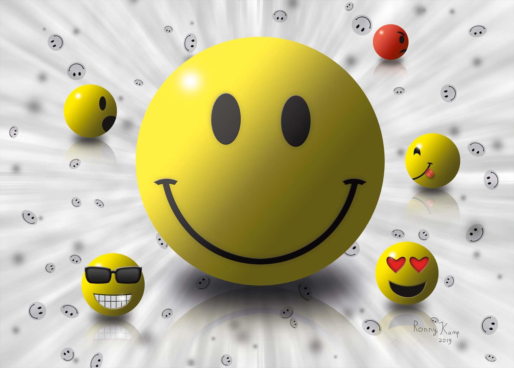 Vier lachende gezichtjes en ��n boze. Vooral vrolijkheid in dit werk. Het boze gezichtje op de achtergrond is misschien niet zo leuk maar zorg er wel voor dat het vrolijke meer gewaardeerd wordt.