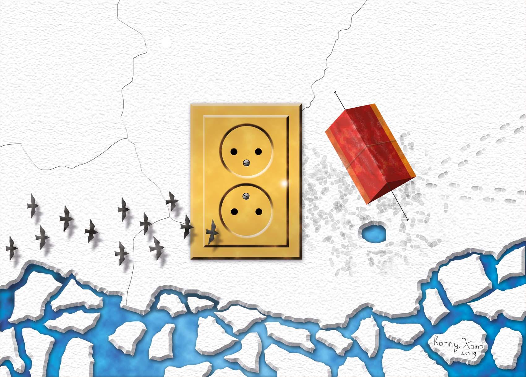 Surrealistische muur met een gouden stopcontact. De muur gaat over in een landschap met ijsschotsen. De tent en de voetafdrukken in de sneeuw verraden een poolexpeditie. Wat hebben deze mensen ontdekt?