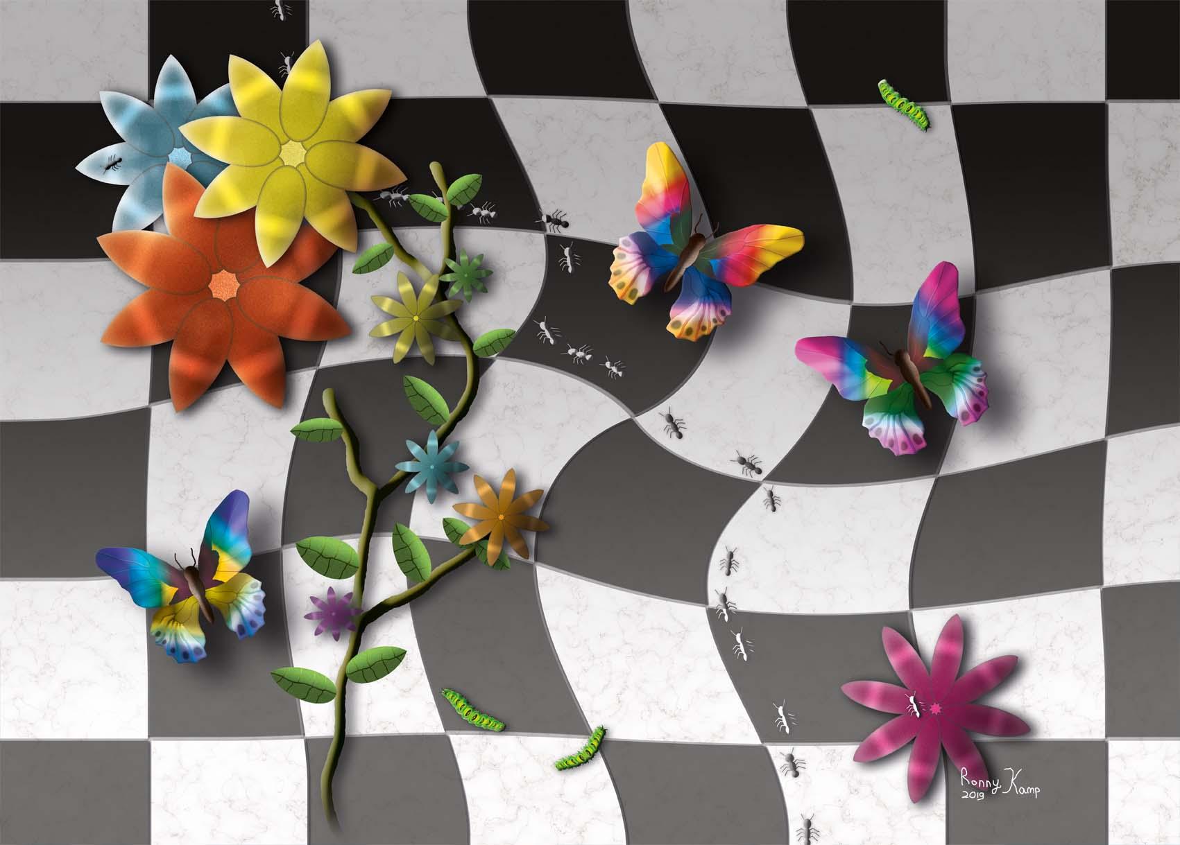 Vlinders met bloemen en mieren op geblokte tegels. Een speels en vrolijk geheel met mooie kleuren. Mieren volgen de lijn van de vervormde vloer.