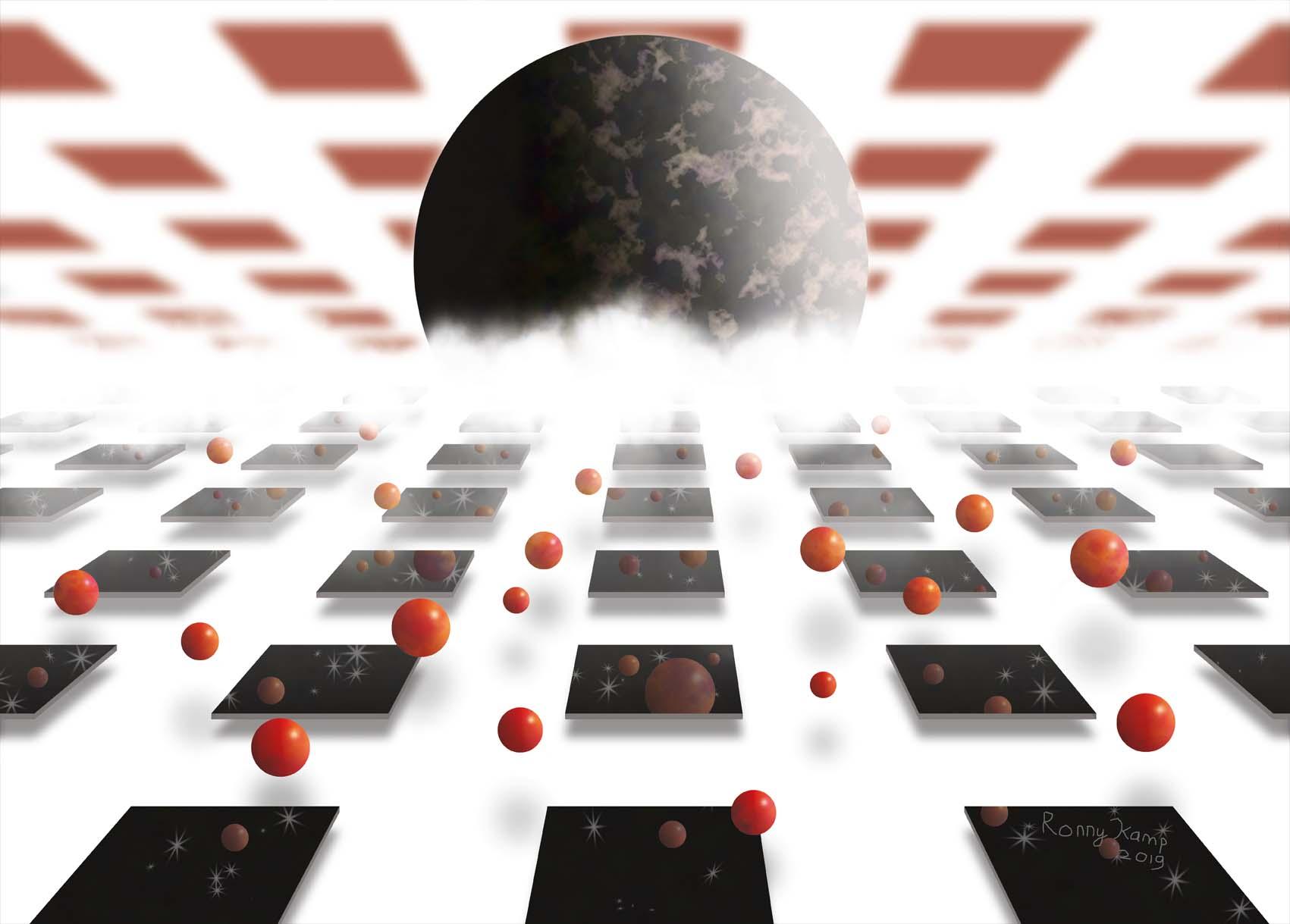 zwarte panelen op witte ondergrond, die zich uitstrekken in de verte. Rode ballen vallen. Vierkante rode wolken in de lucht. De realiteit neemt oneindige vormen aan.