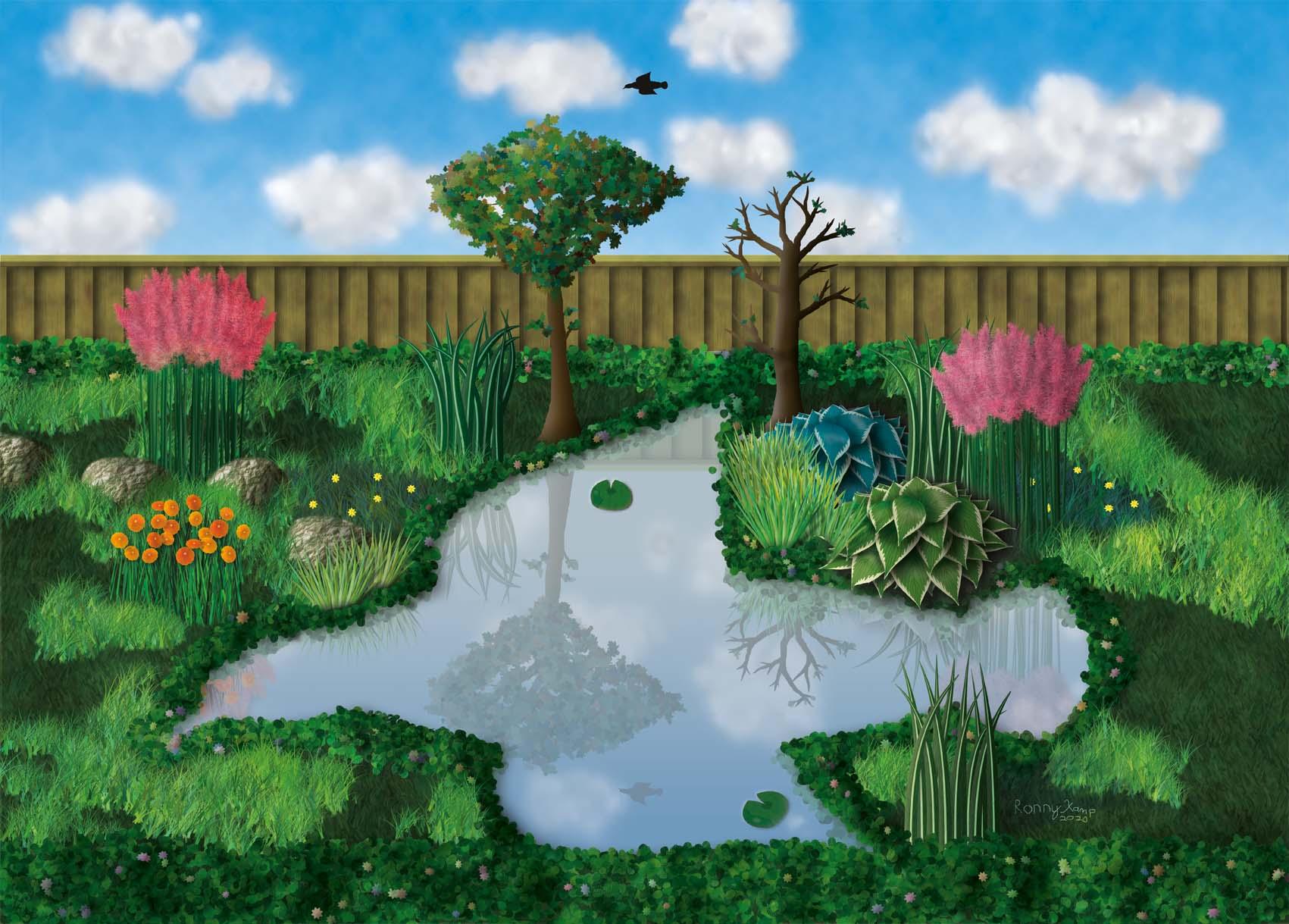 Bomen en planten reflecteren in een vijver, die dezelfde vorm heeft als de vogel in de lucht. Invloeden uit de na�eve kunststroming zijn duidelijk zichtbaar.
